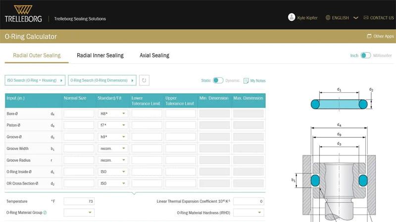 Calculadora de junta tórica | Trelleborg Sealing Solutions