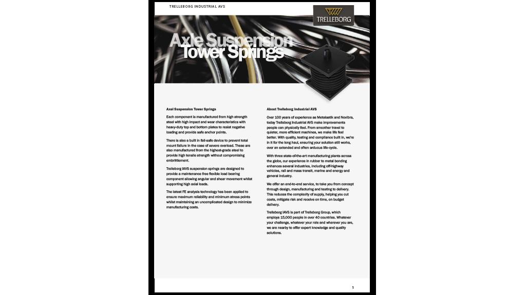 Axle Suspension Tower Spring - Trelleborg Antivibration