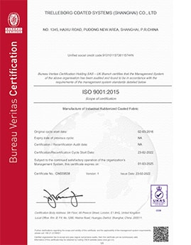 Trelleborg-Coated-Systems-ISO 9001 2015 China
