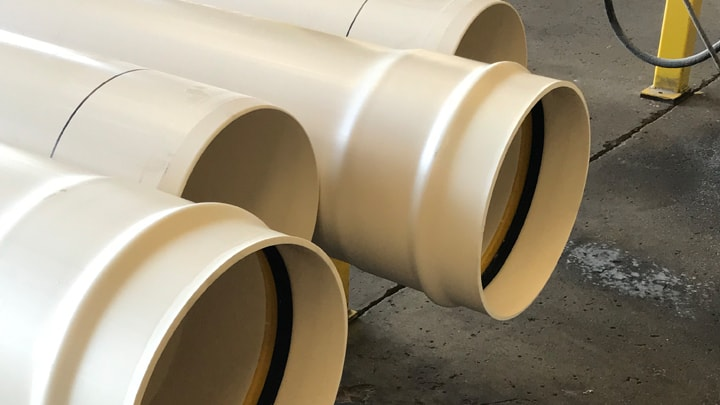 White plastic pipes with Trelleborg 607 seal